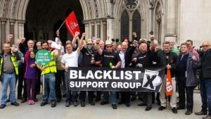 Blacklist Support Group and PCS picket stand together outside the Royal Courts of Justice, 10 July 2014